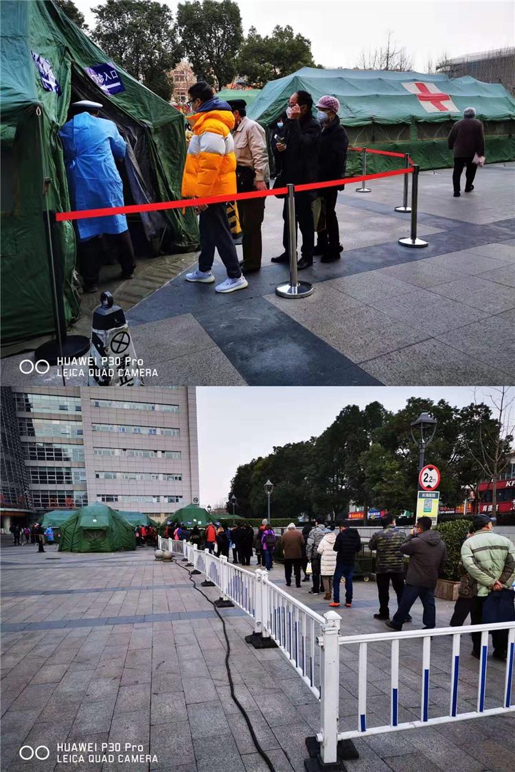 长海医院——仅对外开放1号门进出车辆,控制所有鄂牌车辆进去医院,并积极调配人员增加至4个门岗测量体温,每天对车库进行3次消毒工作。